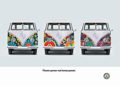 Adverts Photograph - Flower Power Vw by Mark Rogan