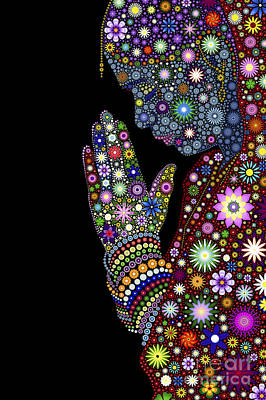 Hand Digital Art - Flower Prayer Girl by Tim Gainey