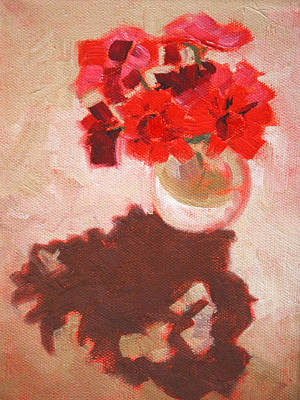Red Geranium Painting - Flower Shadows Still Life by Nancy Merkle