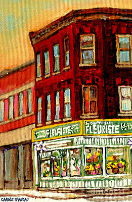 Winter Painting - Flower Shop Painting Boutique Coin Vert Fleuriste Montreal Central 3403 Rue Notre-dame Scenes  by Carole Spandau