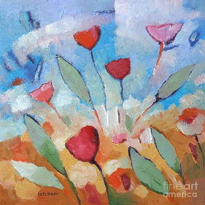 Textured Paint Painting - Flower Square by Lutz Baar