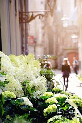 Flower Stall In Sunlight Print by Jane Rix