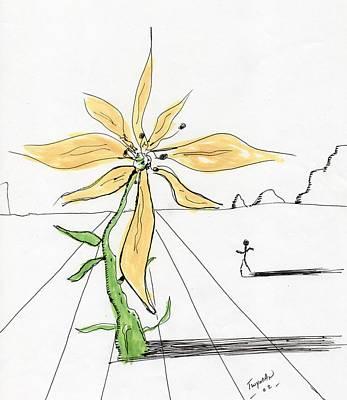 Surreal Drawing - Flower Surrealiste by Dan Twyman