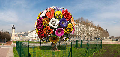 Rhone Alpes Photograph - Flower Tree Sculpture At Place Antonin by Panoramic Images
