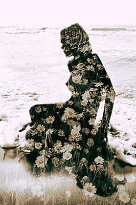 Flower Woman1 Print by Stelios Kleanthous