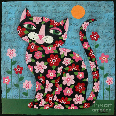 Cat Images Painting - Flowered Calico Black Cat by LuLu Mypinkturtle