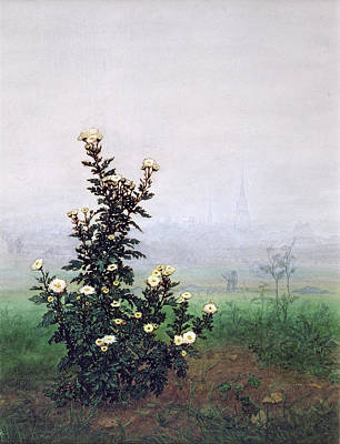 Mist Painting - Flowering Chrysanthemum With Worker by Leon Bonvin
