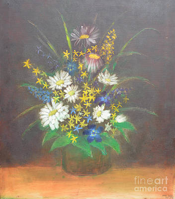 Oil Painting - Flowers 3 by Mirek Bialy