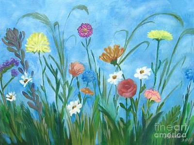 Mums Painting - Flowers All Around by J Linder