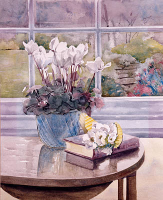 Flowers And Book On Table Print by Julia Rowntree