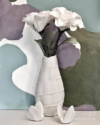 Flowers And Butterflies Print by Marsha Heiken