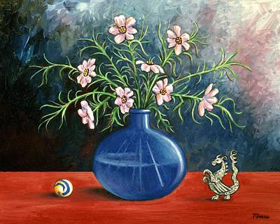 Blues Painting - Flowers And Dragon by Linda Mears