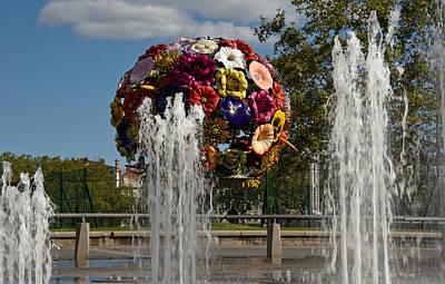 Flowers And Fountains On The River Bank Print by Oleg Koryagin