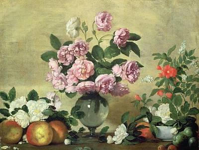 Flowers And Fruit Print by Bernardo Strozzi