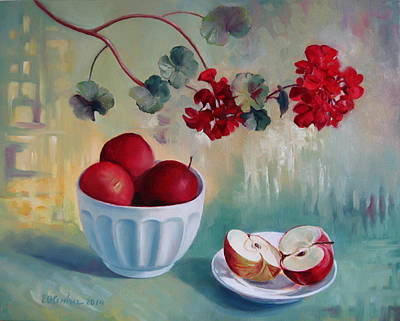 Red Geranium Painting - Flowers And Fruits by Elena Oleniuc