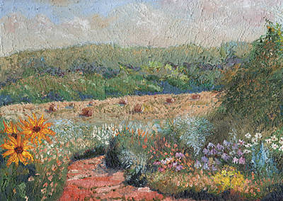 Bales Painting - Flowers And Hay by William Killen
