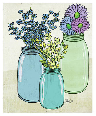 Flowers And Jars I Print by Shanni Welsh