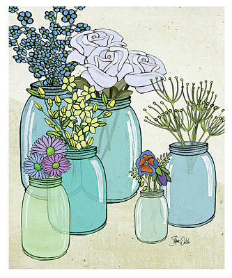 Flowers And Jars II Print by Shanni Welsh
