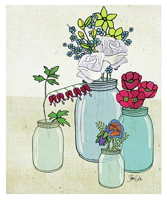 Flowers And Jars IIi Print by Shanni Welsh