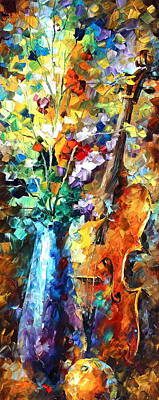 Flowers And Violin Original by Leonid Afremov