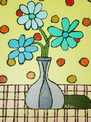 Checked Tablecloths Mixed Media - Flowers For Marcia by Annette Egan