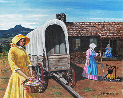 Log Cabin Painting - Flowers For The Homestead by Timithy L Gordon