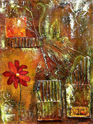 Cardboard Mixed Media - Flowers Grow Anywhere by Bellesouth Studio