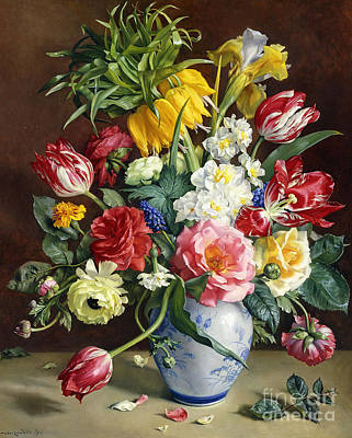 Flowers In A Blue And White Vase Print by R Klausner