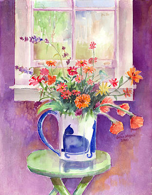 Watercolor Painting - Flowers In A Cat Pitcher by Arline Wagner