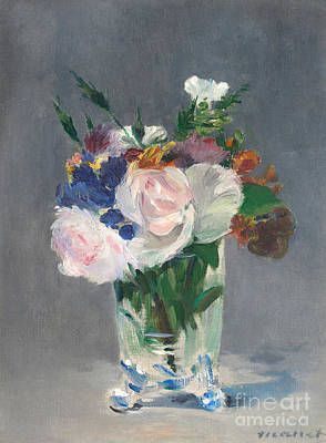 Flowers In A Crystal Vase Print by Edouard Manet