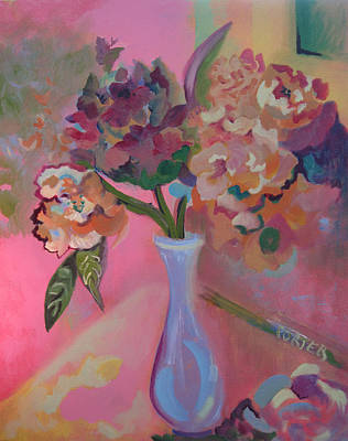 Painting - Flowers In A Lavender Vase by Sally Porter