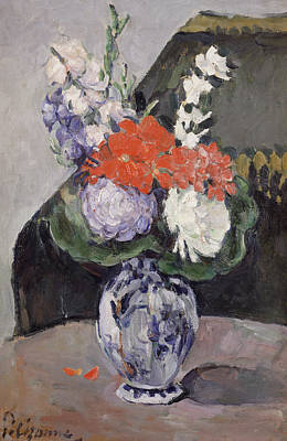 In Bloom Painting - Flowers In A Small Delft Vase by Paul Cezanne