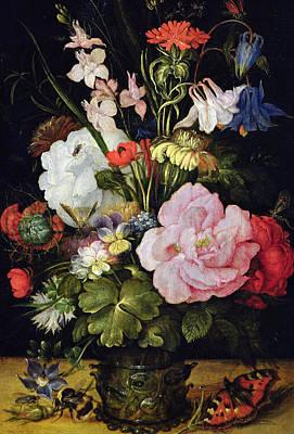 Flowers In A Vase Print by Roelandt Jacobsz Savery