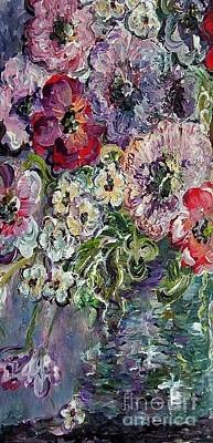 Knife Painting - Flowers In An Antique Blue Vase by Eloise Schneider