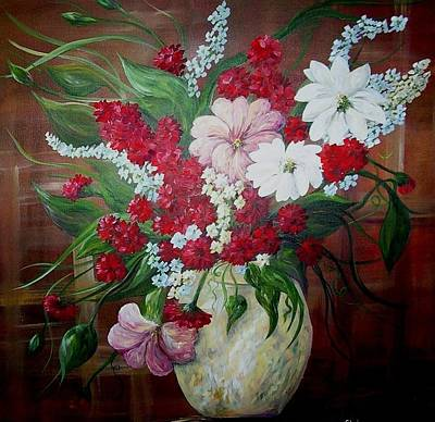 Gerber Painting - Flowers In An Antique Yellow Vase by Eloise Schneider