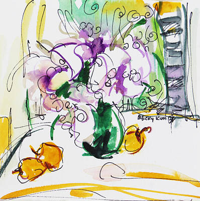 Watercolor With Pen Painting - Flowers In Green Vase by Becky Kim
