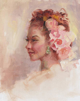 Painted Ladies Painting - Flowers In Her Hair - Portrait by Talya Johnson