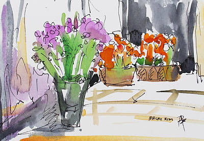 Watercolor With Pen Painting - Flowers In Pots by Becky Kim