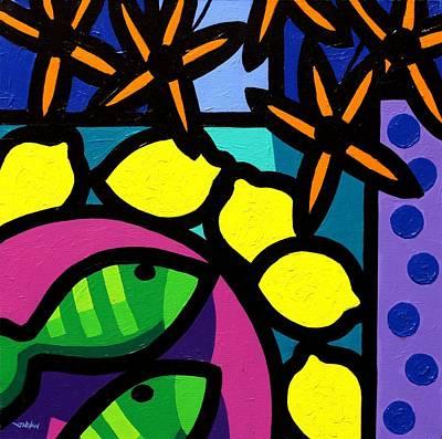 Wine Glasses Painting - Flowers Lemons Fish by John  Nolan