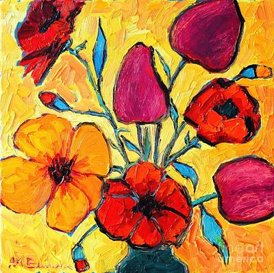 Bouquets Of Pink Flowers Green Blue Painting - Flowers Of Love by Ana Maria Edulescu