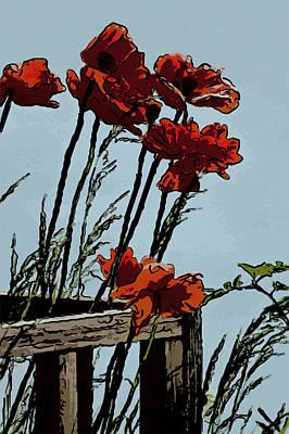 Flowers On The Deck Corner Print by David Kehrli