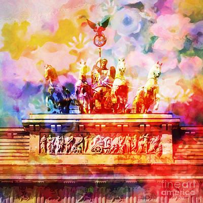Berlin Mixed Media - Flowers Over Berlin by Lutz Baar