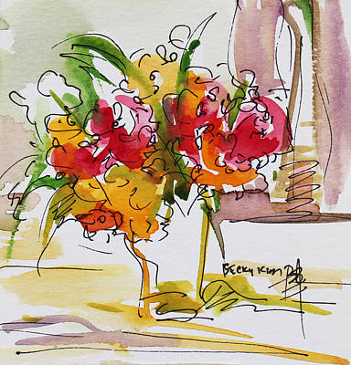 Watercolor With Pen Painting - Flowers Red And Yellow by Becky Kim