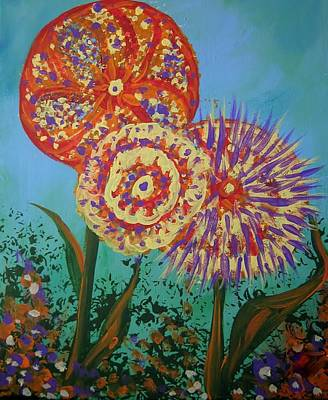 Surrealistic Painting - Flowers by Susan Sadoury