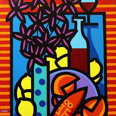 Wine Glasses Painting - Flowers Wine Lobster And Lemons by John  Nolan