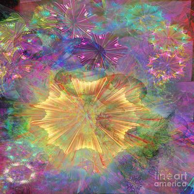 Fireworks Mixed Media - Flowerworks - Square Version by John Robert Beck