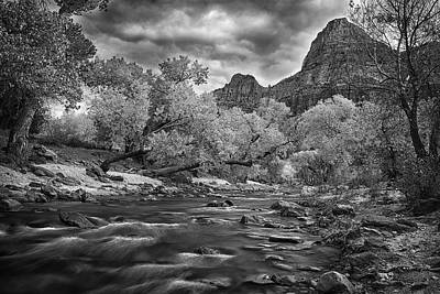 Flowing River In Zion Print by Andrew Soundarajan