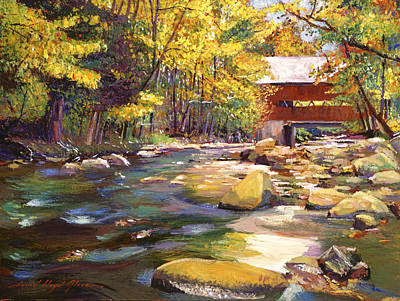 Covered-bridge Painting - Flowing Water At Red Bridge by David Lloyd Glover