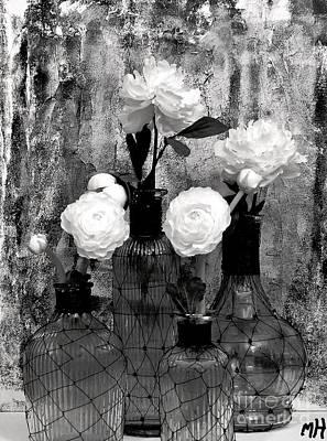 Fluers In Pretty Bottles Print by Marsha Heiken