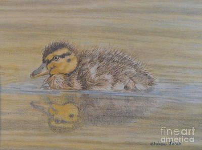 Fluffy Duckling Original by Elaine Jones